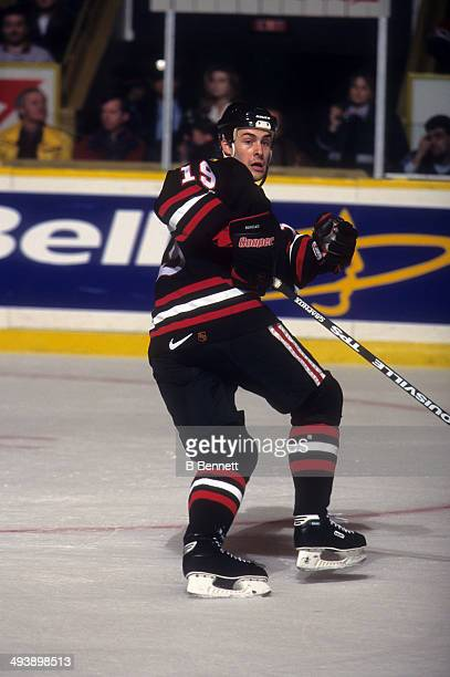 Ethan Moreau of the Chicago Blackhawks skates on the ice during an NHL game against the Toronto Maple Leafs on March 12 1997 at the Maple Leaf...