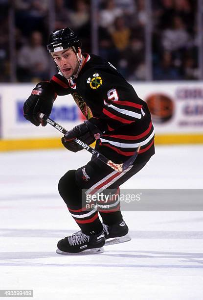 Ethan Moreau of the Chicago Blackhawks skates on the ice during an NHL game against the Dallas Stars on March 14 1997 at the Reunion Arena in Dallas...