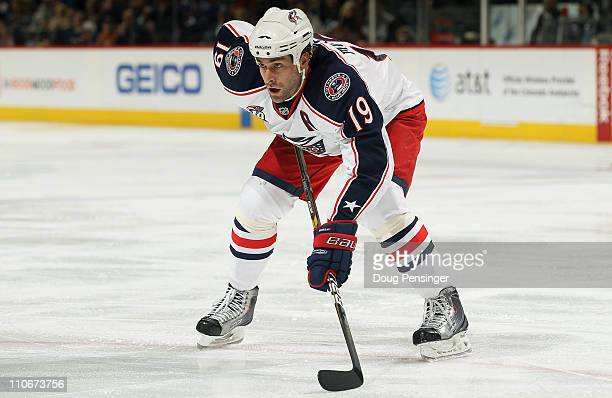Ethan Moreau of the Columbus Blue Jackets skates against the Colorado Avalanche at the Pepsi Center on March 22 2011 in Denver Colorado The Avalanche...