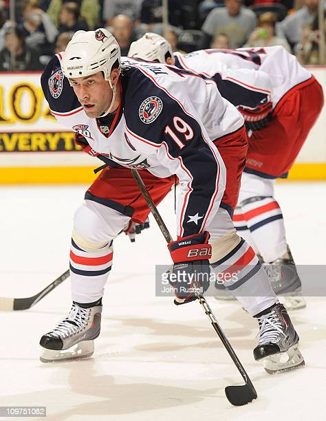 Ethan Moreau of the Columbus Blue Jackets skates against the Nashville Predators during an NHL game on February 27 2011 at Bridgestone Arena in...