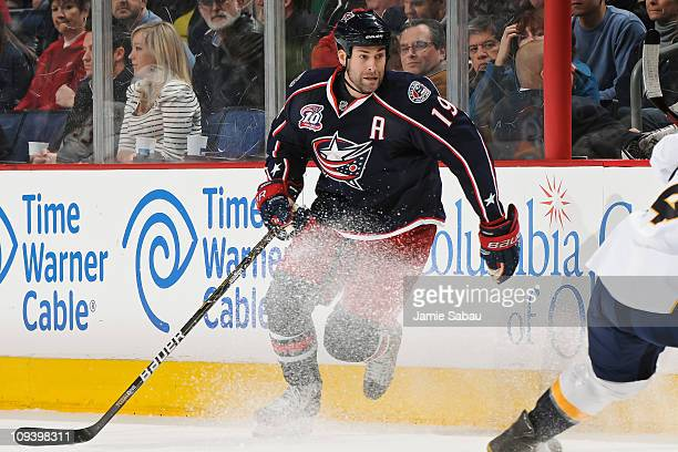 Ethan Moreau of the Columbus Blue Jackets skates against the Nashville Predators on February 22 2011 at Nationwide Arena in Columbus Ohio Columbus...