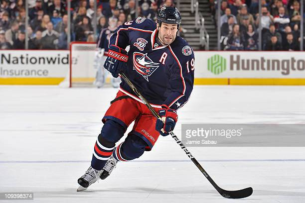 Ethan Moreau of the Columbus Blue Jackets skates against the Nashville Predators on February 22 2011 at Nationwide Arena in Columbus Ohio
