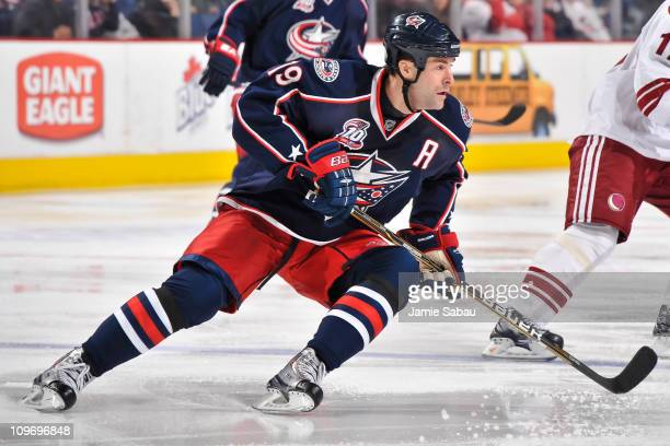 Ethan Moreau of the Columbus Blue Jackets skates against the Phoenix Coyotes on February 25 2011 at Nationwide Arena in Columbus Ohio Columbus...