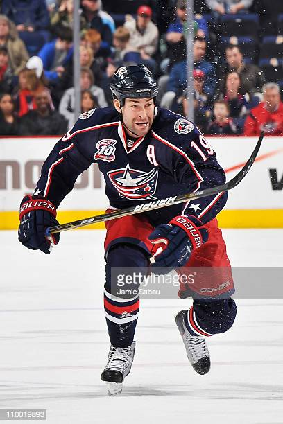 Ethan Moreau of the Columbus Blue Jackets skates against the St Louis Blues on March 9 2011 at Nationwide Arena in Columbus Ohio