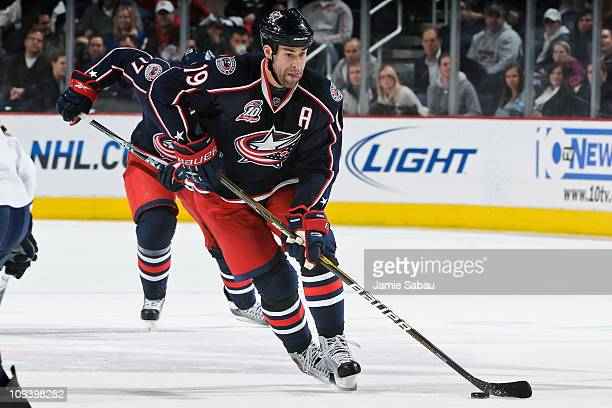 Ethan Moreau of the Columbus Blue Jackets skates with the puck against the Nashville Predators on February 22 2011 at Nationwide Arena in Columbus...