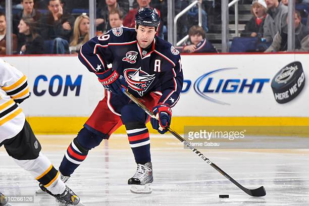 Ethan Moreau of the Columbus Blue Jackets skates with the puck against the Boston Bruins on March 15 2011 at Nationwide Arena in Columbus Ohio Boston...