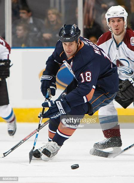 Ethan Moreau of the Edmonton Oilers looks to play the puck during their NHL game against the Colorado Avalanche on November 15 2008 at Rexall Place...