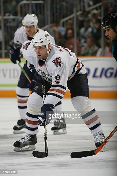 Ethan Moreau of the Edmonton Oilers readies for a faceoff during Game 2 of the Western Conference Semifinals against the San Jose Sharks on May 8,...