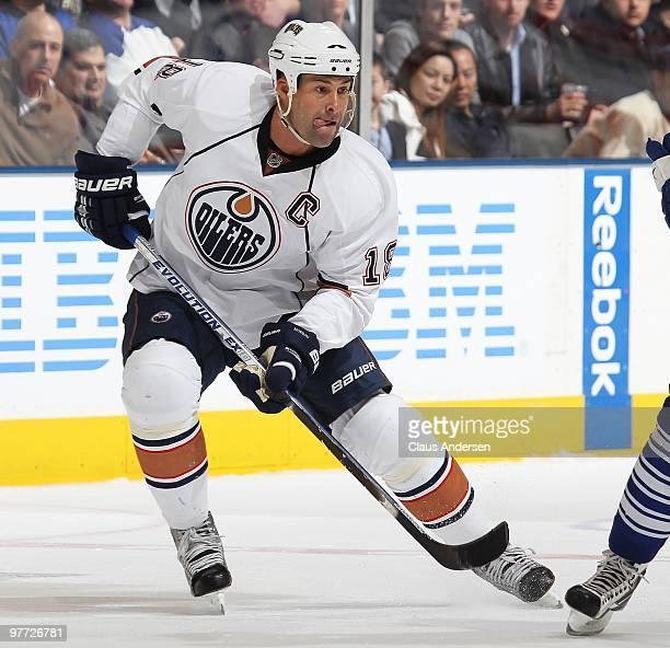 Ethan Moreau of the Edmonton Oilers skates in a game against the Toronto Maple Leafs on March 13 2010 at the Air Canada Centre in Toronto Ontario The...