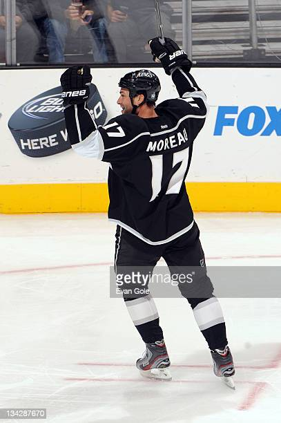 Ethan Moreau of the Los Angeles Kings reacts after scoring a goal against the San Jose Sharks at Staples Center on November 28 2011 in Los Angeles...