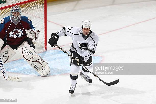 Ethan Moreau of the Los Angeles Kings skates against the Colorado Avalanche at the Pepsi Center on October 30 2011 in Denver Colorado The Avalanche...