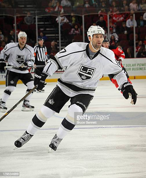 Ethan Moreau of the Los Angeles Kings skates against the New Jersey Devils at Prudential Center on October 13 2011 in Newark New Jersey