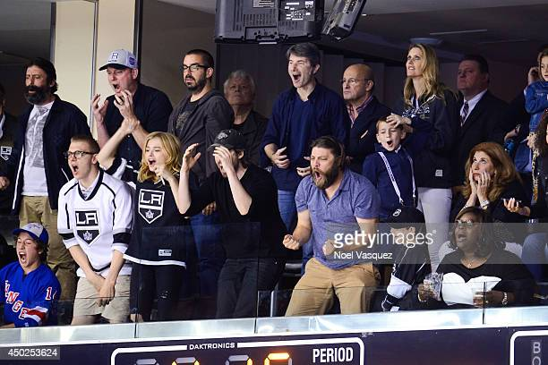 Ethan Moretz Chloe Moretz Jason Reitman Jay R Ferguson and Retta attend a hockey game between the New York Rangers and the Los Angeles Kings in Game...