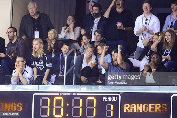Ethan Moretz Chloe Moretz Jay R Ferguson and Retta attend a hockey game between the New York Rangers and the Los Angeles Kings in Game Two of the...