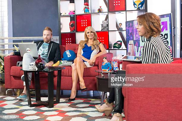 """Ethan Newberry, Paris Hilton and Shira Lazar attend Paris Hilton Visits """"What's Trending"""" on October 17, 2013 in Hollywood, California."""