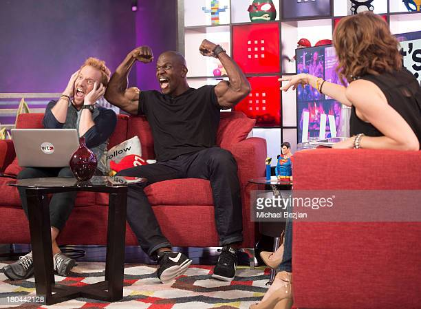 """Ethan Newberry, Terry Crews and Shira Lazar attend Sean Kingston and Terry Crews Visits """"What's Trending"""" on September 12, 2013 in Hollywood,..."""
