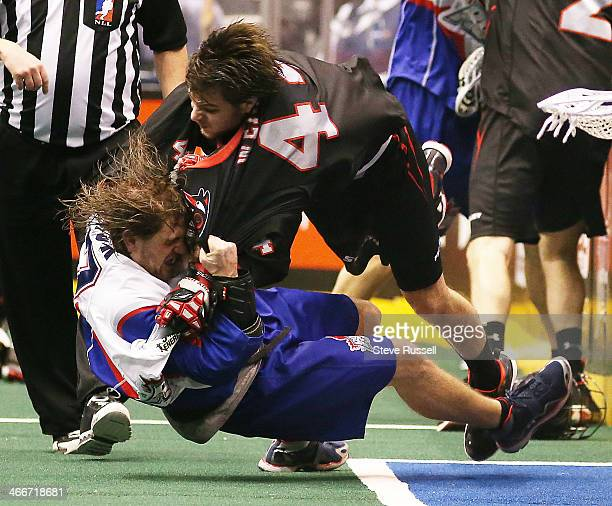 TORONTO ON JANUARY 31 Ethan O'Connor is taken down by Nick Weiss in a fight as the Toronto Rock beat the Vancouver Stealth 1712 in Major League...