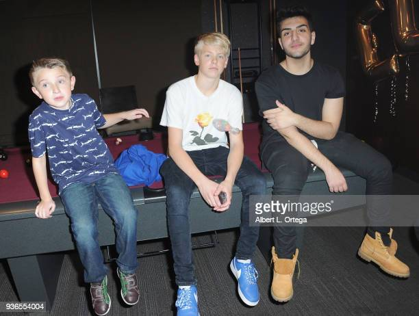 Ethan Perkins Carson Lueders and Greg Marks attend the Birthday Party For Elam Roberson held at Pinz Bowling on March 21 2018 in Los Angeles...