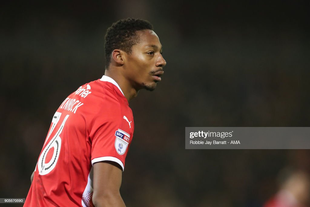 Ethan Pinnock of Barnsley during the Sky Bet Championship match between Barnsley and Wolverhampton at Oakwell Stadium on January 13, 2018 in Barnsley, England.