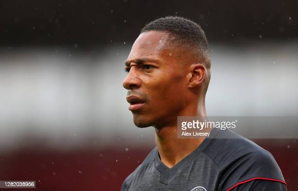 Ethan Pinnock of Brentford looks on during the Sky Bet Championship match between Stoke City and Brentford at Bet365 Stadium on October 24 2020 in...