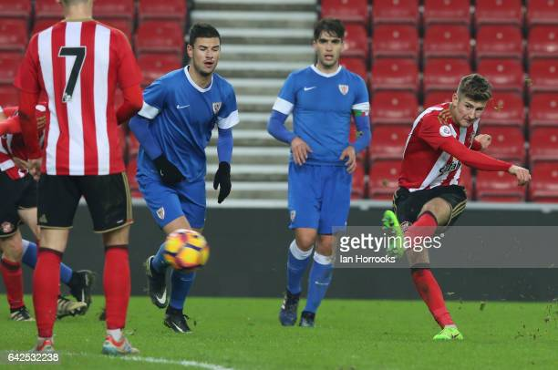 Ethan Robson has a shot of Sunderland during the Premier League International Cup Quarter Final match between Sunderland U23 and Athletic Bilbao U23...