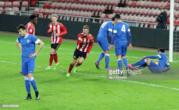 Ethan Robson of Sunderland celebrates scoring the opening goal during the Premier League International Cup Quarter Final match between Sunderland U23...
