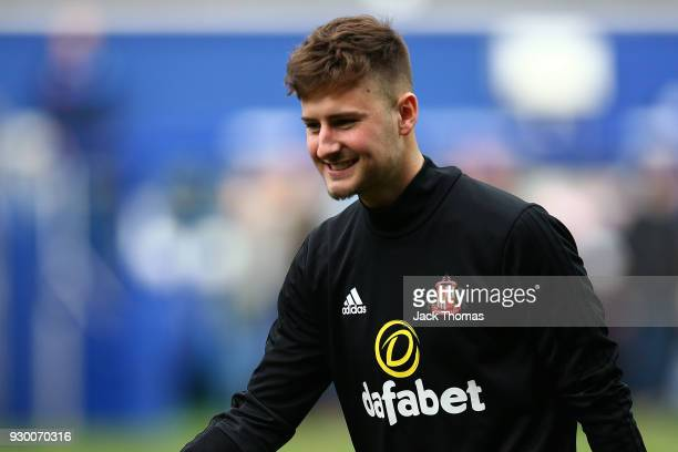 Ethan Robson of Sunderland warms up ahead of the Sky Bet Championship match between QPR and Sunderland at Loftus Road on March 10 2018 in London...