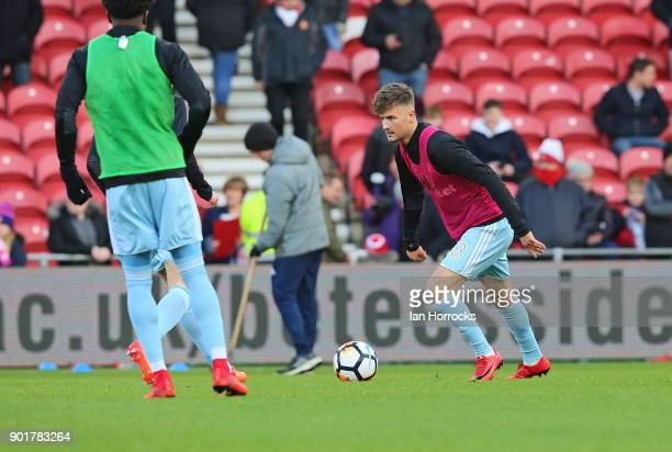 Ethan Robson of Sunderland warms up before the FA cup third round match between Middlesbrough FC and Sunderland AFC at Riverside Stadium on January 6...