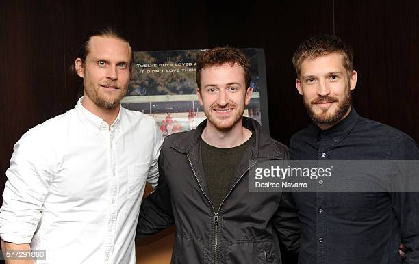Ethan Russell Joe Mazzello and Will Malnati attend 'Undrafted' New York screening at Bryant Park Hotel on July 18 2016 in New York City