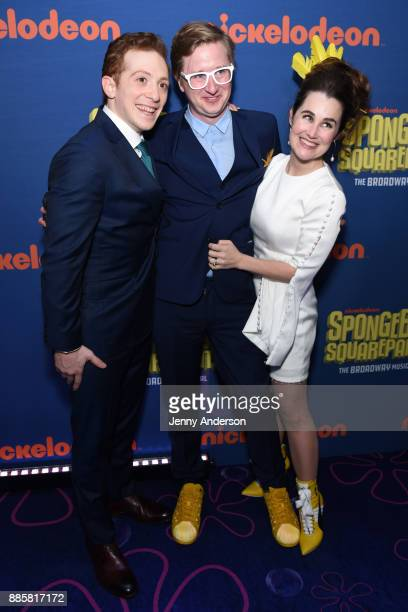 Ethan Slater Kyle Jarrow and Lauren Worsham attend Opening Night of Nickelodeon's SpongeBob SquarePants The Broadway Musical at Palace Theatre on...