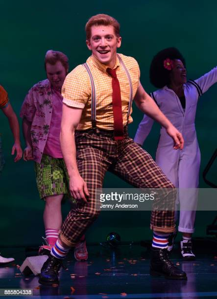 Ethan Slater poses onstage during opening night of Nickelodeon's SpongeBob SquarePants The Broadway Musical at Palace Theatre on December 4 2017 in...