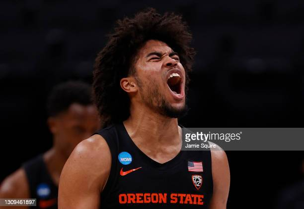 Ethan Thompson of the Oregon State Beavers celebrates against the Loyola-Chicago Ramblers during the first half in the Sweet Sixteen round of the...