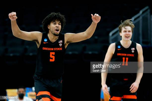 Ethan Thompson of the Oregon State Beavers reacts during the second half against the Tennessee Volunteers in the first round game of the 2021 NCAA...