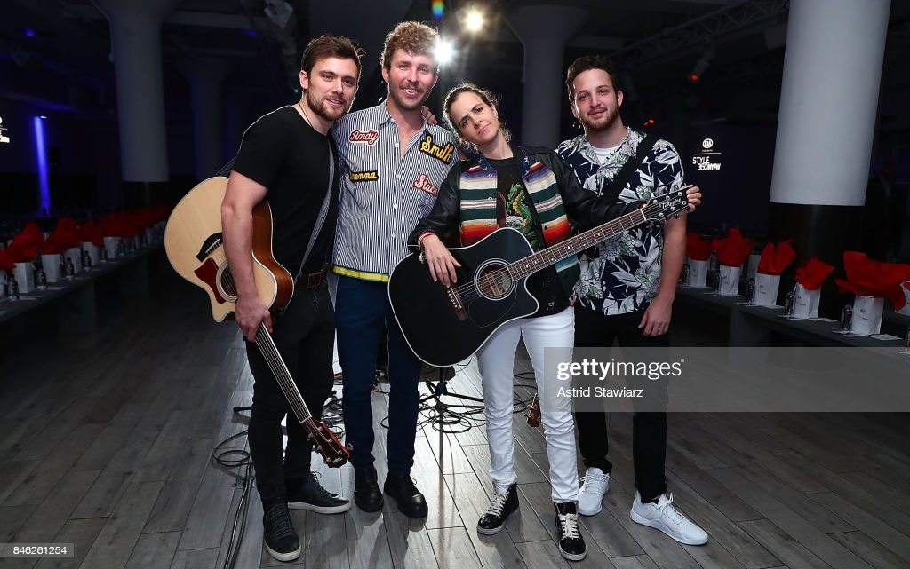 Ethan Thompson, Timo Weiland, Samantha Ronson and Pete Nappi pose for photos backstage at Momentum By Timo Weiland during New York Fashion Week at Metropolitan West on September 12, 2017 in New York City.