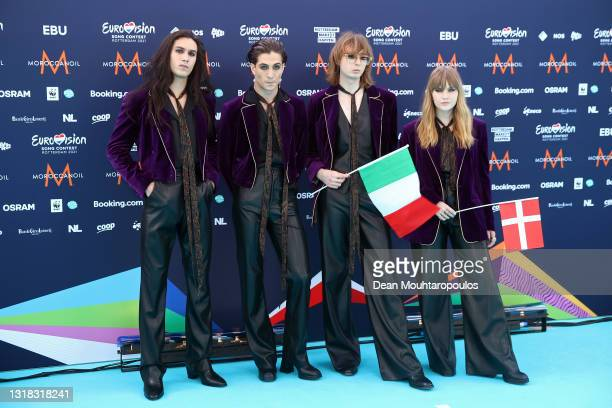 Ethan Torchio, Damiano David, Thomas Raggi and Victoria De Angelis of Måneskin of Italy arrive at the 65th Eurovision Song Contest held at Rotterdam...
