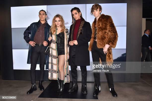 Ethan Torchio, Victoria De Angelis, Damiano David and Thomas Raggi of Maneskin band attend the Fendi show during Milan Men's Fashion Week Fall/Winter...