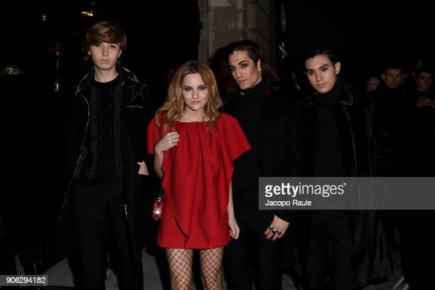 Ethan Torchio, Victoria De Angelis, Damiano David and Thomas Raggi of Maneskin band are seen arriving at Valentino Menswear Fall/Winter 2018-2019...