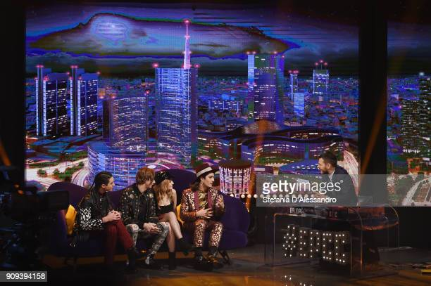 Ethan Torchio, Victoria De Angelis, Damiano David and Thomas Raggi of Maneskin and Alessandro Cattelan attend 'E Poi C'e Cattelan' Tv Show on January...