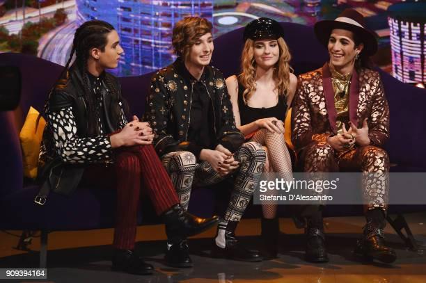Ethan Torchio, Victoria De Angelis, Damiano David and Thomas Raggi of Maneskin band attend 'E Poi C'e Cattelan' Tv Show on January 23, 2018 in Milan,...