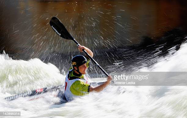 Ethan Van Horn competes in the men's K1 of the 2012 US Olympic Trials for Whitewater Slalom at the US National Whitewater Center on April 14 2012 in...