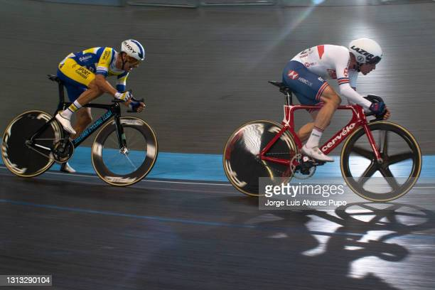Ethan Vernon of Great Britain and Kenny De Ketele of Belgium compete during the Points race of the Omnium as part of the UCI Belgian International...
