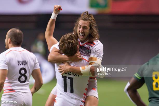 Ethan Waddleton and Dan Bibby of England celebrate after defeating South Africa in the Cup Final on day 2 of the 2017 Canada Sevens Rugby Tournament...