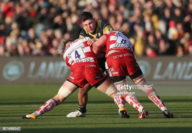 Ethan Waller of Worcester during the Aviva Premiership match between Worcester Warriors and Gloucester Rugby at Sixways Stadium on February 17 2018...