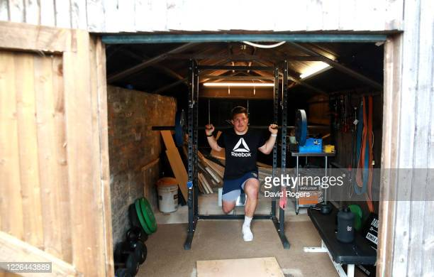 Ethan Waller, the Worcester Warriors prop forward, trains in isolation at his home on May 22, 2020 in Worcester, England. The coronavirus and the...