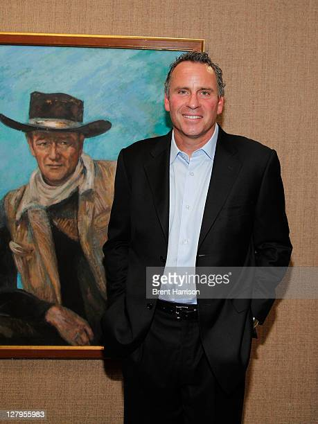 Ethan Wayne attends the Heritage Auctions John Wayne Auction special VIP press reception at the Hyatt Regency Century Plaza on October 3 2011 in...