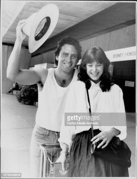 Ethan Wayne son of John Wayne and Catherine Mitchum neice of Robert Mitchum arriving at Mascot today November 06 1987
