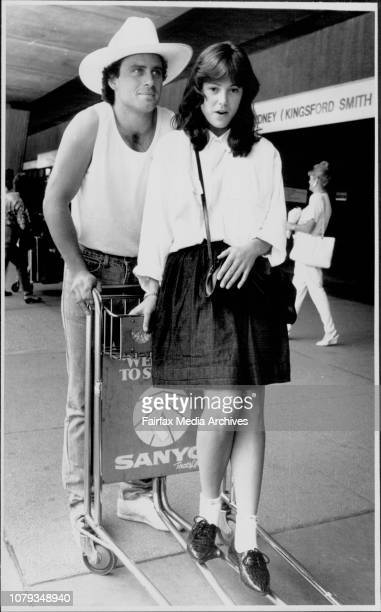 Ethan Wayne son of John Wayne and Catherine Mitchum neice of Robert Mitchum arriving at Mascot today November 06 1987
