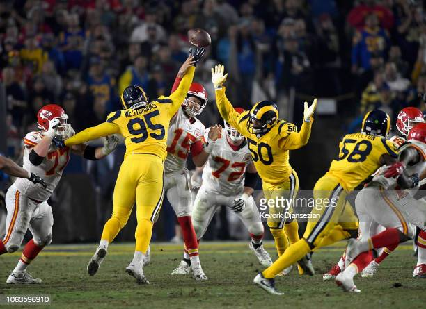 Ethan Westbrooks of the Los Angeles Rams blocks the pass of quarterback Patrick Mahomes of the Kansas City Chiefs for a fumble and a touchdown during...