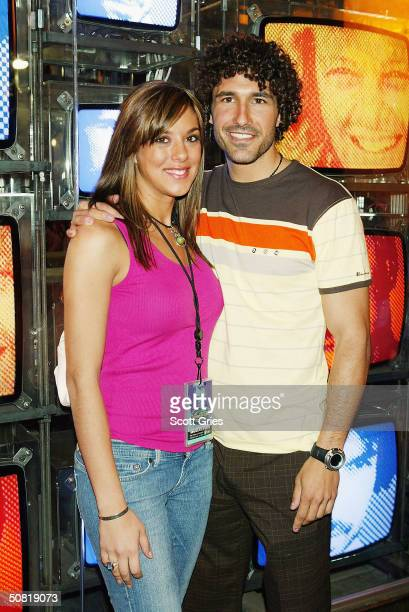 Ethan Zohn and Jenna Morasca pose for a photo at the Survivor Allstars/Reunion Show after party at Crobar May 9 2004 in New York City