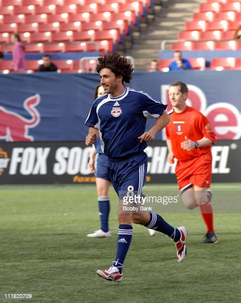 """Ethan Zohn of """"Survivor"""" playing in the 2008 New York Red Bulls season opener celebrity pre-game at Giants Stadium on April 5, 2008 in East..."""